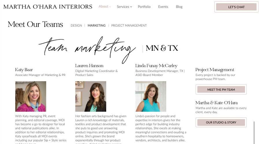 Martha Ohara Interiors Marketing Teams